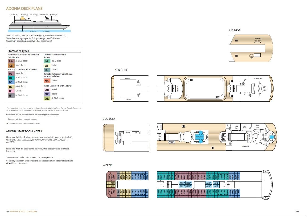 Po cruises adonia deck plans baanklon Image collections