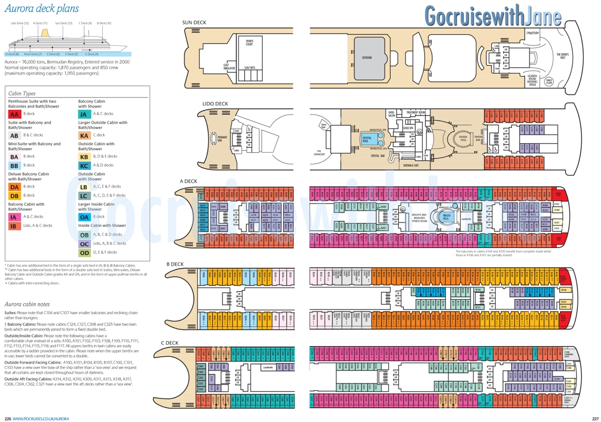 P o cruises 2012 2013 deck plans for Arcadia deck plans
